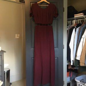 Lush Maxi Wine Red Formal Dress